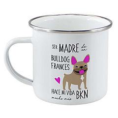 Tazón enlozado bull dog francés café