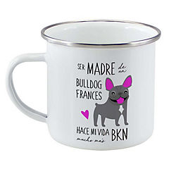 Tazón enlozado bull dog francés gris