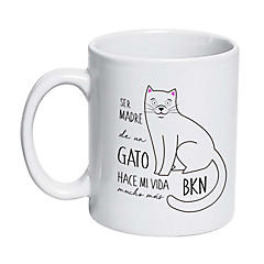 Tazón cerámico gato blanco
