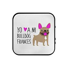 Parlante bluetooth bull dog francés café