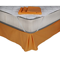 Sábana 144 hilos + faldón naranjo + cubrecolchón microfibra 90 gramos 1,5 plazas