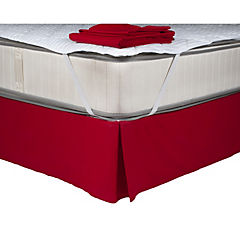 Sábana 144 hilos + faldón rojo italiano + cubrecolchón microfibra 90 gramos 1,5P