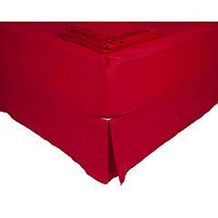Sábana 144 hilos + faldón rojo italiano 2 plazas