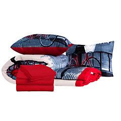 Plumón bicicleta + sábana rojo italiano 1,5 plazas