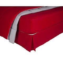 Plumón bicolor rojo/gris + sábana 144 hilos + faldón rojo king