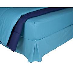Plumón bicolor azul/calipso + sábana 144 hilos + faldón calipso king