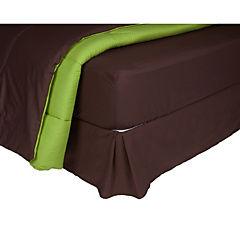 Plumón bicolor verde/café + sábana 144 hilos + faldón café 2 plazas
