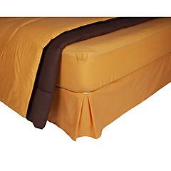 Plumón bicolor naranjo/café + sábana 144 hilos + faldón naranjo king