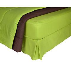 Plumón bicolor verde/café + sábana 144 hilos + faldón pistacho 2 plazas