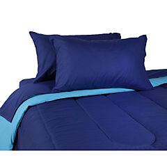 Plumón bicolor azul/calipso + sábana 144 hilos calipso king