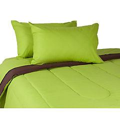 Plumón bicolor verde/café + sábana 144 hilos pistacho king