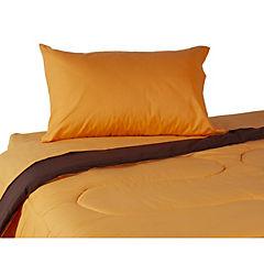 Plumón bicolor naranjo/café + sábana 144 hilos naranjo 1,5 plazas