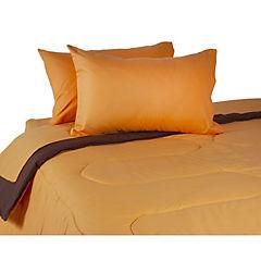 Plumón bicolor naranjo/café + sábana 144 hilos naranjo king