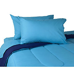 Plumón bicolor azul/calipso + sábana azul 2 plazas