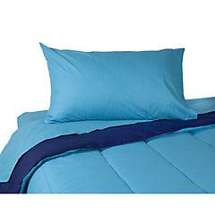 Plumón bicolor azul/calipso + sábana 144 hilos calipso 1,5 plazas