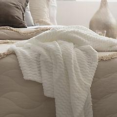 Manta zigzag blanca 120x150 cm