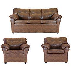 Juego living américa sofá 3 cuerpos + 2 sillones cuero sintético caramelo