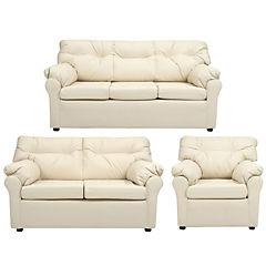 Juego living américa sofá 3 cuerpos + sofá 2 cuerpos + sillón cuero sintético beige