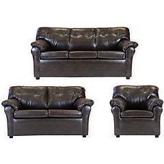 Juego living américa sofá 3 cuerpos + sofá 2 cuerpos + sillón cuero sintético café