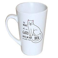 Tazón cónico gato blanco