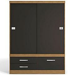 Closet 3 cajones 2 puertas teca/negro