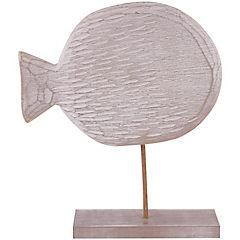Pez con base madera tallado 31 cm