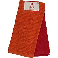 Set 2 paños cocina 40x60 cm naranjo/rojo