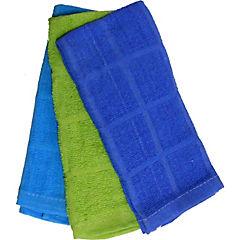 Set 2 paños cocina 38x64 azul/verde/celeste