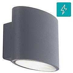 Aplique ovalado exterior 2 luces led 4 W gris