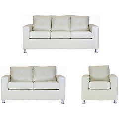 Juego living  sofá 3 cuerpos + 2 cuerpos + sillón PU beige
