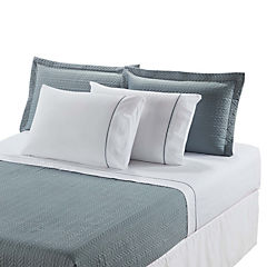 Quilt + sábana + faldón petróleo/beige 1,5 plazas
