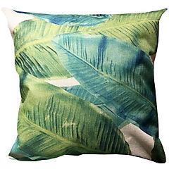 Cojín lino hojas verdosas 45 x 45 cm