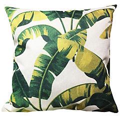 Cojín lino hojas amarillas 45 x 45 cm