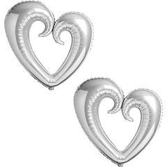 Pack globo corazón giga plateado 2 unidades