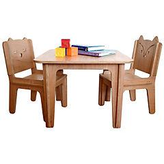 Set infantil mesa + 2 sillas ensamblables respaldo búho y zorro