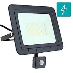 Reflector led plano 100 W luz fría con sensor negro