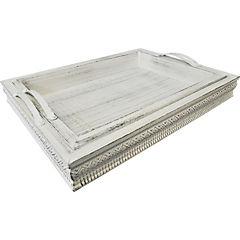 Set 2 bandejas de madera con asa metálica