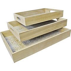 Set 3 bandejas de madera fondo blanco