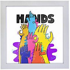 Cuadro hands 35x35 cm marco blanco