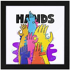 Cuadro hands 35x35 cm marco negro