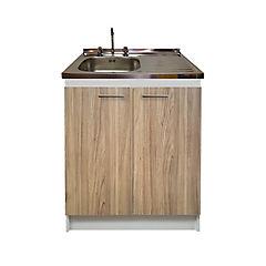 kit mueble base madera 2 puertas con lavaplatos  derecho más grifería 80 x 50 cm