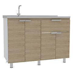 Mueble de cocina con lavaplatos 120x51,5x88 cm Oak/blanco