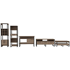 Set rack de TV + estante + bar + arrimo + mesa de centro miel