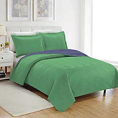 Quilt Fortaleza microfibra 1,5 plazas verde y azul