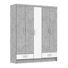 Closet 5 puertas, 2 cuerpos gris blanco