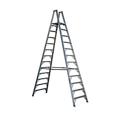 Escala tijera aluminio doble acceso c/plataforma 12 peldaños 3,49 m