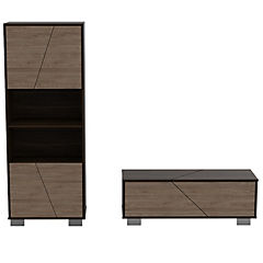 Set estante + mesa de centro habano/miel