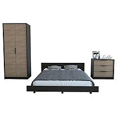 Set cama 2 plazas + clóset + cómoda 3 cajones wengue/miel