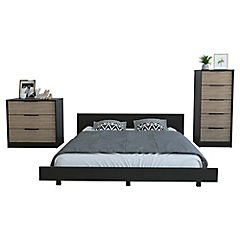 Set cama 2 plazas + 2 cómodas wengue/miel