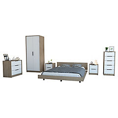 Set cama 2 plazas + clóset + 2 cómodas + 2 veladores miel/blanco